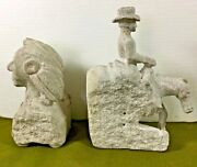 Rare Cowboy And Indian Chief Handmade Art In Cement Vintage Book End Statues