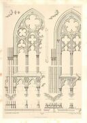 1857 Large Architecture Print Seez Cathedral Medieval Gothic Art Mediaeval