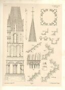 1857 Large Architecture Print Etampes Cathedral Notre Dame Medieval Gothic Art