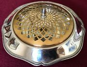 Vintage New Amsterdam Silver Co Silverplate Flower Frog Footed Centerpiece Bowl