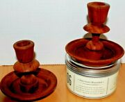 Vintage Hard-turned Wooden Candle Holders/sticks For Tapered Candles 4 Tall