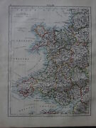 1900 Victorian Map Wales Pembroke Cardigan Anglesey Montgomery Radnor