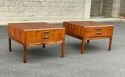 Large Pair Mid Century Modern Harvey Probber Founders Walnut End/ Side Tables