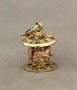 Vintage 14k Two Tone Gold 3d Movable Horses Carousel Spinning Charm