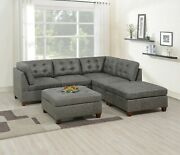 L-sectional Sofa Corners Armless Chairs Ottoman Antique Grey 6pc Sectional Set