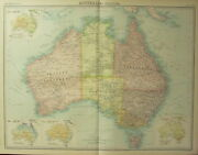 1922 Large Antique Map Australia Victoria New South Wales Queensland Rainfall