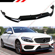 For 15-18 Mercedes Benz W205 Amg Sport Gloss Blk 3pc Style Front Bumper Lip