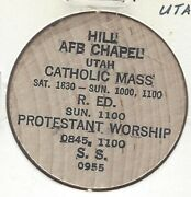 Hill Air Force Base Afb Chapel, Utah, Catholic Mass, Protestant, Wooden Nickel