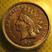 1907 Snow-1 Indian Head Cent With Repunched Date Graded Ms63 By Icg