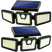 2 X Wireless Led Solar Motion Sensor Lights Outdoor With 3 Heads 270° Wide Angel