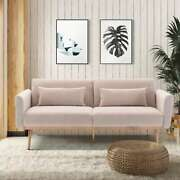 Velvet Sofabed Accent Sofa Loveseat Sofa Bed Sleeper With Metal Feet