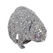 Giant Frog Natural Pave Diamond Ruby Gemstone 925 Sterling Silver Jewelry