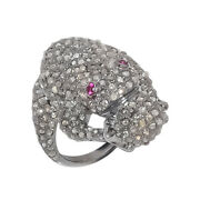 Frog Design Ring Natural Pave Diamond Ruby Gemstone 925 Solid Silver Jewelry