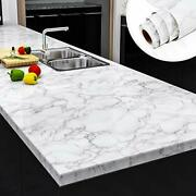 Yenhome Marble Grey White Contact Paper 30x118 Peel And Stick Wallpaper Cou...