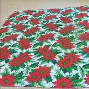 Vintage Christmas Tablecloth Red And White Rectangle With Poinsettias And Greenery