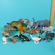 Plastic Rubber Zoo Animal Toy Figures Lot Collie Cougar Elephant Some Vintage
