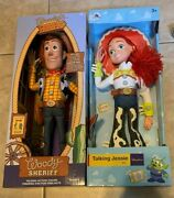 Toy Story Disney Parks Authentic Lot Talking Woody And Jessie Pull String Doll New