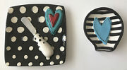 Cheese Stoneware Plate Setlg/sm Plates With Heart Designs Knife Holder W/knife