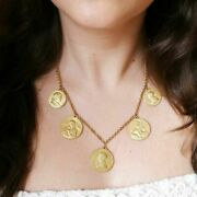 Vintage Christian Necklace Sacred Religious Votive Medals Coins Pope Golden Mary