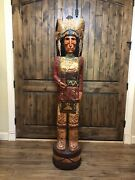 Vintage 30 Yr Old Frank Gallagher 6ft Cigar Store Indian Statue In Stock