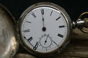Waltham Pocket Watch Sterling Grade Model 1877 Fahyand039s Coin Silver Case R3aa