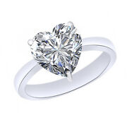 2.75 Ct Heart Cut April Birthstone Diamond 10k White Gold Solitaire Ring