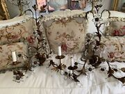 Vtg Style Pair Sconces Lamps Tole Italian French Flower Crystal Prisms Metal