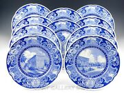 Antique Wedgwood Columbia University 10-7/8 Blue Plates 10 Different Patterns