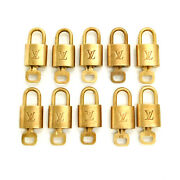 Louis Vuitton Brass Gold Tone Lv Padlock And Key 10 Pieces Set 330 Rise-on