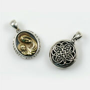 Madonna And Child Sterling Silver Pendant W/armenian Ornament On The Reverse Side