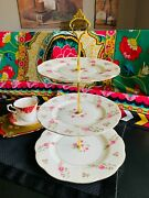 Vintage 1940s Theodore Haviland Porcelain 3-tiered Plate Stand - Delaware