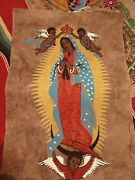 Mexican Papel Bark Hand Painted Madonna Of Guadalupe Unframed 23.5 X 16 Art