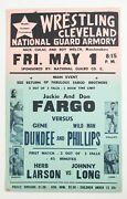 Vintage 1964 Nwa Mid-america Wrestling Event Poster The Fabulous Fargo Brothers
