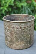 """Judaica, Antique Copper Hammered Vessel With """"jacob Blessing His Sons"""" And Exodus"""