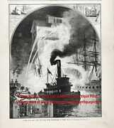 Firefighting River Fireboat, Fire At New York Dock, Large 1880s Antique Print