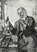 Taxidermy Taxidermist Working On Bird In Shop, Tools, Large 1880s Antique Print