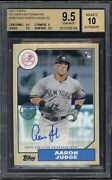 2017 Topps 1987 Aaron Judge Yankees Rc Rookie Bgs 9.5 W/ 10 Auto