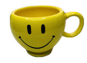 Teleflora Ceramic Smiley Face Yellow Large Mug Coffee Cup Planter Gift Floral