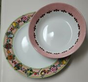 Mary Engelbreit Garden Time Serving Bowl And Plate, Sakura, Fabulous Used Cond.