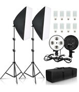 Photography 50x70cm Four Lamp Softbox Kit Continuous Lighting System