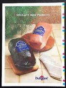 Dubuque Meats 1980s Cooked Corned Beef Oven Beef Roast Display Poster Vintage Ad