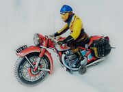Tippco Tco 59 Motorcycle Tin Toy / Motorrad Blech Motor Wind-up Very Rare