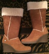 Ugg Sandra 5451 Brown Tan Tall Wedge Boots New With Box Size 9
