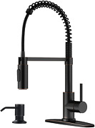 Appaso Commercial Pull Down Sprayer Kitchen Faucet With Soap Dispenser - Oil Rub