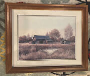 """Gene Speck """" The Wagon Shed """" Lithograph Framed Print - 12 X16in - Frame = 19x23"""
