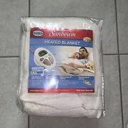 Sunbeam Heated Blanket Dual Control Queen Size Beige Opened But Never Used