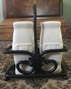 Longaberger Pottery Woven Traditions Ivory Salt And Pepper Shakers With Caddy