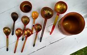 Vintage Ussr Russian Hand Painted Wooden, Bowl, Vase And Spoons Lot Of 11