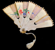 Antique Victorian Era Fabric Fan For Doll Accessory Hand Painted
