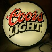 Dbl Sided Coors Lighted Beer Sign Round 18 Yr. 2000 Side Mounted.